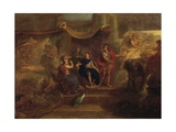 Decision to Make War on Dutch, Ceiling Painting from Galerie Des Glaces at Versailles, 1671 Giclee Print by Charles Le Brun