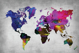 World Watercolor Map 13 Wall Sign