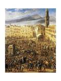 Piazza Del Mercato in Naples, Detail from the Revolt of Masaniello Giclee Print by Domenico Gargiulo