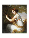 Portrait of the Artist's Daughter, Seated Three-Quarter Length, Playing a Guitar, C.1797 Giclee Print by Elisabeth Louise Vigee-LeBrun