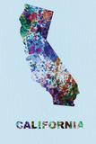 California Color Splatter Map Wall Sign