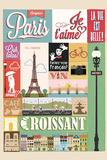 Typographical Retro Style Poster With Paris Symbols And Landmarks Wall Sign by  Melindula