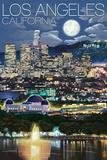 Los Angeles, California - Los Angeles at Night Plastic Sign by  Lantern Press