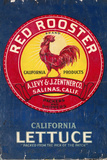 Red Rooster - Vegetable Crate Label Wall Sign by  Lantern Press