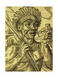 Chief of Tribe of Cannibals, Engraving from Universal Cosmology Giclee Print by Andre Thevet