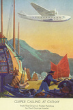 Pan-American Clipper Flying Over China - Hong Kong, China Plastic Sign by  Lantern Press