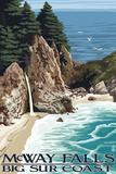 McWay Falls - Big Sur Coast, California Wall Sign by  Lantern Press