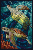 Sea Turtle - Paper Mosaic Plastic Sign by  Lantern Press
