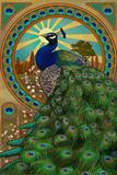 Peacock - Art Nouveau Wall Sign