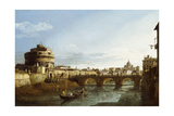 A View of Rome Looking West, with Boats Along the Tiber and the Castel Saint'Angelo in the Distance Giclee Print by Bernardo Bellotto
