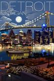 Detroit, Michigan - Skyline at Night Pancarte matière plastique par  Lantern Press