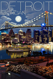 Detroit, Michigan - Skyline at Night Wall Sign