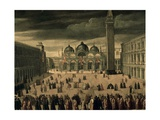 Procession of Doge and His Entourage in Piazza San Marco in Venice Giclée-Druck von Cesare Vecellio
