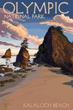 Kalaloch Beach - Olympic National Park, Washington Plastic Sign by  Lantern Press