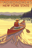 The Adirondacks, New York State - Canoe Scene Wall Sign by  Lantern Press