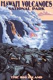 Lantern Press - The Big Island, Hawaii - Lava Flow Scene Plastové cedule