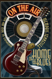 Memphis, Tennessee - Guitar and Microphone - Blue Wall Sign by  Lantern Press