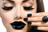 Beauty Fashion Model Girl With Black Make Up, Long Lushes Plastic Sign by Subbotina Anna