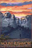 Mount Rushmore National Memorial, South Dakota - Sunset View Plastic Sign by  Lantern Press