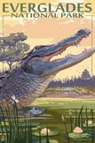 The Everglades National Park, Florida - Alligator Scene Plastikskilte af Lantern Press