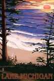 Lake Michigan - Sunset on Beach Wall Sign