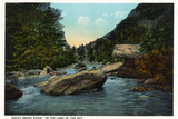 Blue Ridge Mountains, North Carolina - Rocky Broad River Scene Wall Sign
