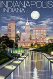 Indianapolis, Indiana - Indianapolis at Night Wall Sign