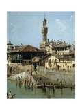 Arno River and Ponte Vecchio in Florence, 1742 Giclee Print by Bernardo Bellotto