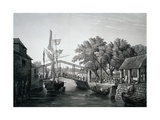 Malacca, Pier, Engraving from Voyage around World across Indian and China Seas Giclee Print by Cyrille Pierre Theodore Laplace