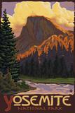 Half Dome, Yosemite National Park, California Plastic Sign by  Lantern Press