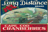 Wareham, Massachusetts, Long Distance Brand Cape Cod Cranberry Label Wall Sign