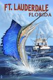 Ft. Lauderdale, Florida - Sailfish Scene Plastic Sign by  Lantern Press