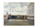 Marshal Joffre on Mission to Washington Inspecting Students of West Point, Spring 1917 Giclee Print by Charles Edmund Brock