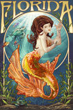 Florida - Mermaid Wall Sign by  Lantern Press