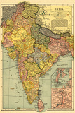 India - Panoramic Map Wall Sign