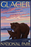Bear and Cub, Glacier National Park, Montana Plastic Sign by  Lantern Press