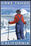 Skier Admiring, Lake Tahoe, California Plastic Sign by  Lantern Press