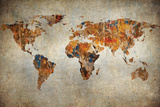 Grunge Map Of The World Wall Sign by  javarman