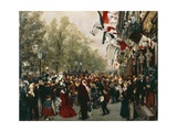 Departure of Emperor Wilhelm I to His Army on July 31, 1870, 1870-1871 Giclee Print by Adolph Menzel