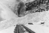 Avalanche of snow across railroad tracks Photograph - Alaska Plastic Sign by  Lantern Press