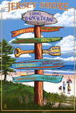 Long Beach Island, New Jersey Destination Sign Plastic Sign by  Lantern Press