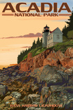 Acadia National Park, Maine - Bass Harbor Lighthouse Wall Sign by  Lantern Press