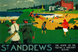 St. Andrews Vintage Poster - Europe Plastic Sign by  Lantern Press
