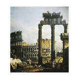 Roman Capriccio with Colosseum, 1742-1746 Giclee Print by Bernardo Bellotto