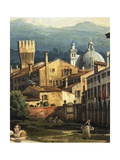 Roman Capriccio with Turreted Walls and City Gates, 1742-1747 Giclee Print by Bernardo Bellotto