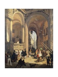 Piazza Dei Mercanti or the Transition from the Old Fish Merchants' Square, 1844 Giclee Print by Angelo Inganni
