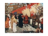 The Departure of John and Sebastian Cabot from Bristol on their First Voyage of Discovery, 1497 Giclee Print by Ernest Board