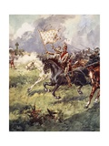"""A Thousand Knights are Pressing Close Behind the Snow-White Crest"" Giclee Print by Archibald Webb"