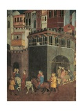 Effects of Good Government in City, Procession of Nobiliy on Streets of City Giclee Print by Ambrogio Lorenzetti