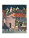 Effects of Good Government in City, Masons at Work Giclee Print by Ambrogio Lorenzetti